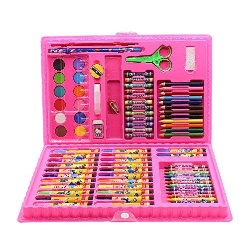 Aquarell Stift Pink/Blau, Kunst-inspirierte Kunstkoffer für tragbare Kunst- und Farbstoffe, 86 Teile, Ein Geschenk für Kinder. Ideal für Künstler, Erwachsene und Kinder (Color : Pink)