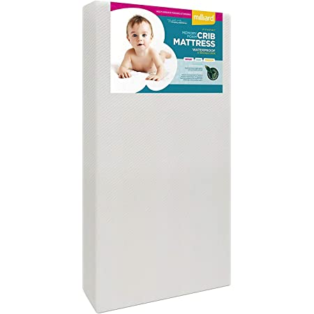 Milliard Premium Memory Foam Hypoallergenic Infant Crib Mattress and Toddler Bed Mattress with Waterproof Cover, Flip Dual Stage System - 27.5 inches x 52 inches x 5.5 inches