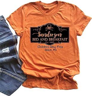 LANMERTREE Sanderson Bed and Breakfast T-Shirt Women Halloween Letter Print Blouse Tops Tee