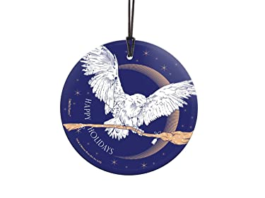 Harry Potter – Hedwig Nimbus 2000 – Happy Holidays – Starfire Prints Hanging Glass Decoration – Ideal for Gifting and Collecting