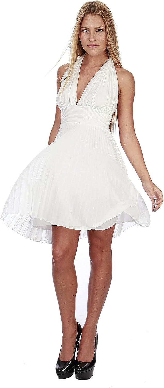 Hollywood Star Fashion Women's Marilyn Monroe Short Chiffon Pleated Halter Dress