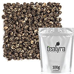 Tealyra - Imperial Jasmine Dragon Pearls - Loose Leaf Green Tea - Jasmine Green Tea with Pleasant Aroma and Tonic Effect - 100g