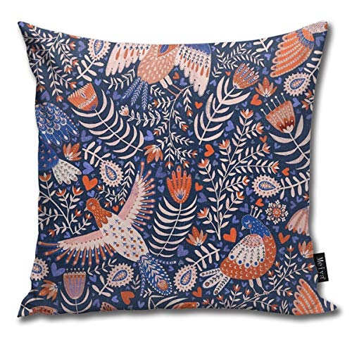 Fashion Funny Throw Pillow Covers Swedish Folk Art Birds On Dark Blue Printed 18 x 18 Inches Cases Cushion Cover Pillowcases for Home,Indoor,Bed,Gard