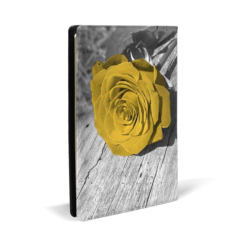 謎めいたテレビベギンブラックサーカス ブックカバー A5 PUレザー 黄色のバラの花の壁アート 文庫本カバー オフィス用品 文房具 カバー 学習用品