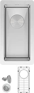 ZUHNE Modena 10 by 18 Inch Wet Bar, Small Prep, Mini Trough 16G Stainless Steel Undermount Kitchen Sink W. Grate, Strainer Stopper