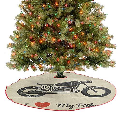 Homesonne Falda de árbol vintage de aspecto plano para motocicleta y texto Love My Bike Silueta de Año Nuevo Festival, suministros de adorno impresionante y elegante aspecto gris carbón caqui 122 cm