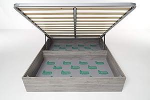 Cangù, Hi Box Letto Contenitore, Grigio, 160 x 190 cm