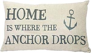 YBDXHA Home is Where The Anchor Drops Cotton Linen Pillow Throw Pillow Case Cushion Cover Home Sofa Decorative 12 X 20 Inch