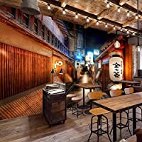 壁画壁画レトロストリート和風レストラン寿司屋背景壁壁の装飾的な壁紙 400cmx280cm