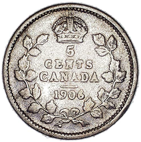 1906 CA Edward VII Canadian KM# 13 Silver 5 Cent Very Good