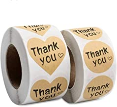 """Thank You Stickers, 1000 Kraft Paper Thank You Adhesive Label, 1.5"""" Heart Shaped Stickers & 1.25"""" Round Adhesive Labels fo..."""