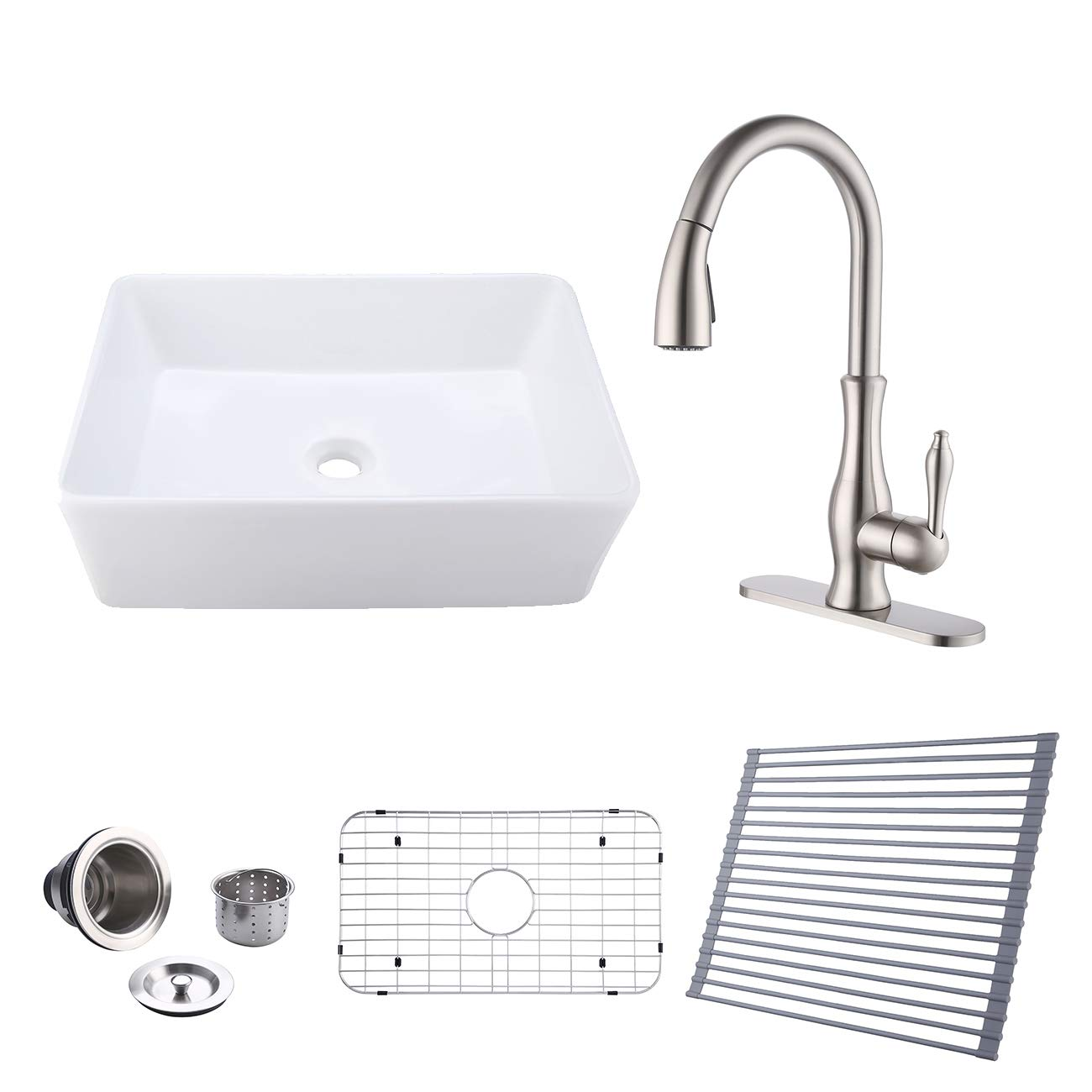 Kes White Farmhouse Sink 30 Inch Apron Front Single Bowl With Pull Down Kitchen Faucet Sink Drain Dish Drying Rack Bottom Grid Combo Accessories Bvs117 C4 Amazon Com