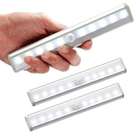Lot de 3 lampe led detecteur de mouvement interieur Lumière Armoire 10 LEDs spot sans Fil, Lampe de Placard LED éclairage led à Piles avec Bande Magnétique, Veilleuse Enfant escaliers Couloir