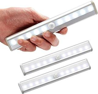 Lot de 3 lampe led detecteur de mouvement interieur Lumière Armoire 10 LEDs spot sans Fil, Lampe de Placard LED éclairage ...