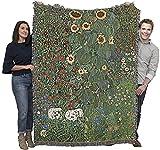 Farm Garden with Sunflowers - Gustav Klimt - Cotton Woven Blanket Throw - Made in The USA (72x54)