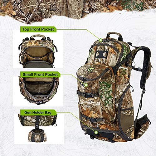 TIDEWE Hunting Backpack 3400cu, Silent Frame Hunting Pack for Bow/Rifle/Pistol