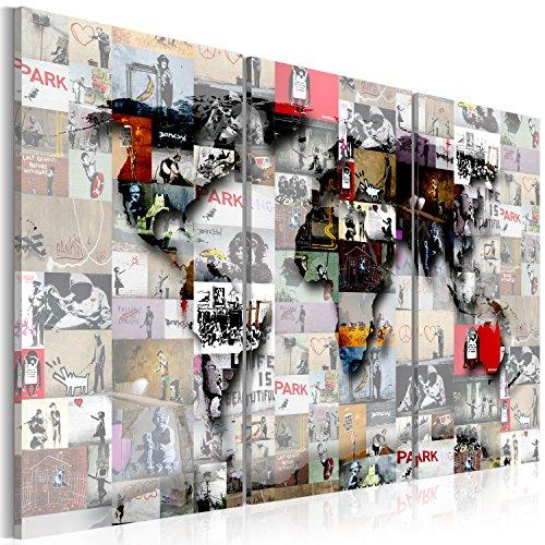 murando - Cuadro en Lienzo 120x80 cm Mapamundi - Impresión de 3 Piezas Material Tejido no Tejido Impresión Artística Imagen Gráfica Decoracion de Pared - Mapa del Mundo k-C-0057-b-f