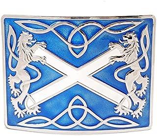 Highland Saltire and Lion Rampant Chrome with Blue Enamel Kilt Belt Buckle