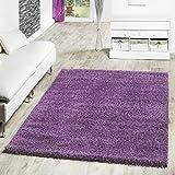 T&T Design Shaggy - Alfombra para salón, diferentes precios, varios colores, morado, 140 x 200 cm