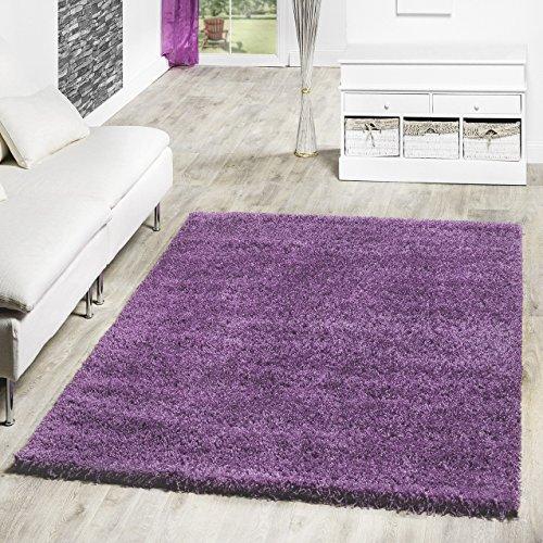 T&T Design Shaggy Teppich Hochflor Langflor Teppiche Wohnzimmer Preishammer versch. Farben, Farbe:lila, Größe:120x170 cm