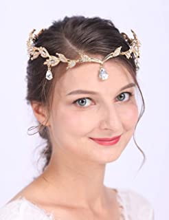 Anglacesmade Bridal Crystal Tiara Crown Rhinestone Headband with Teardrop Diamond-Studded Leaf Hair Vine for Wedding Prom Party Hair Jewelry for Women and Girls (Silver)