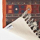 Homescapes Kelim-Teppich, handgewebt aus Baumwolle, 70 x 120 cm, bunter Baumwollteppich mit geometrischem Muster und Fransen - 5