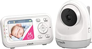 VTech BM3400 Video and Audio Baby Monitor with Pan & Tilt Camera, White,