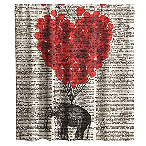 Final Friday Elephant Shower Curtains Red Balloon Newspaper Theme Cloth Fabric Bathroom Decor Sets with Hooks Waterproof Washable 70 x 70 inches Beige and Black