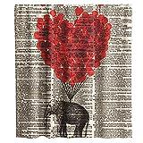 Final Friday Elefant Duschvorhänge Elefant rot Ballon Zeitung Thema Stoff Badezimmer Dekor Sets mit Haken Wasserdicht Waschbar 177,8 x 177,8 cm Beige & Schwarz
