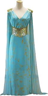 Juego de Tronos Daenerys Targaryen Cosplay Azul Qarth Vestido de Fiesta con Cuello en v Manga Larga Cosplay Traje (Azul)