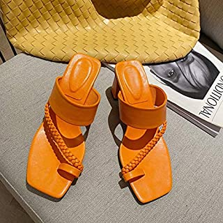 Summer Women Pumps Square Toe Ladies Heel Mules Sexy Square High Heels Sandals Slippers Female Slides Woman Shoes Simple elegant sandals and slippers (Color : Orange, Shoe Size : 5)