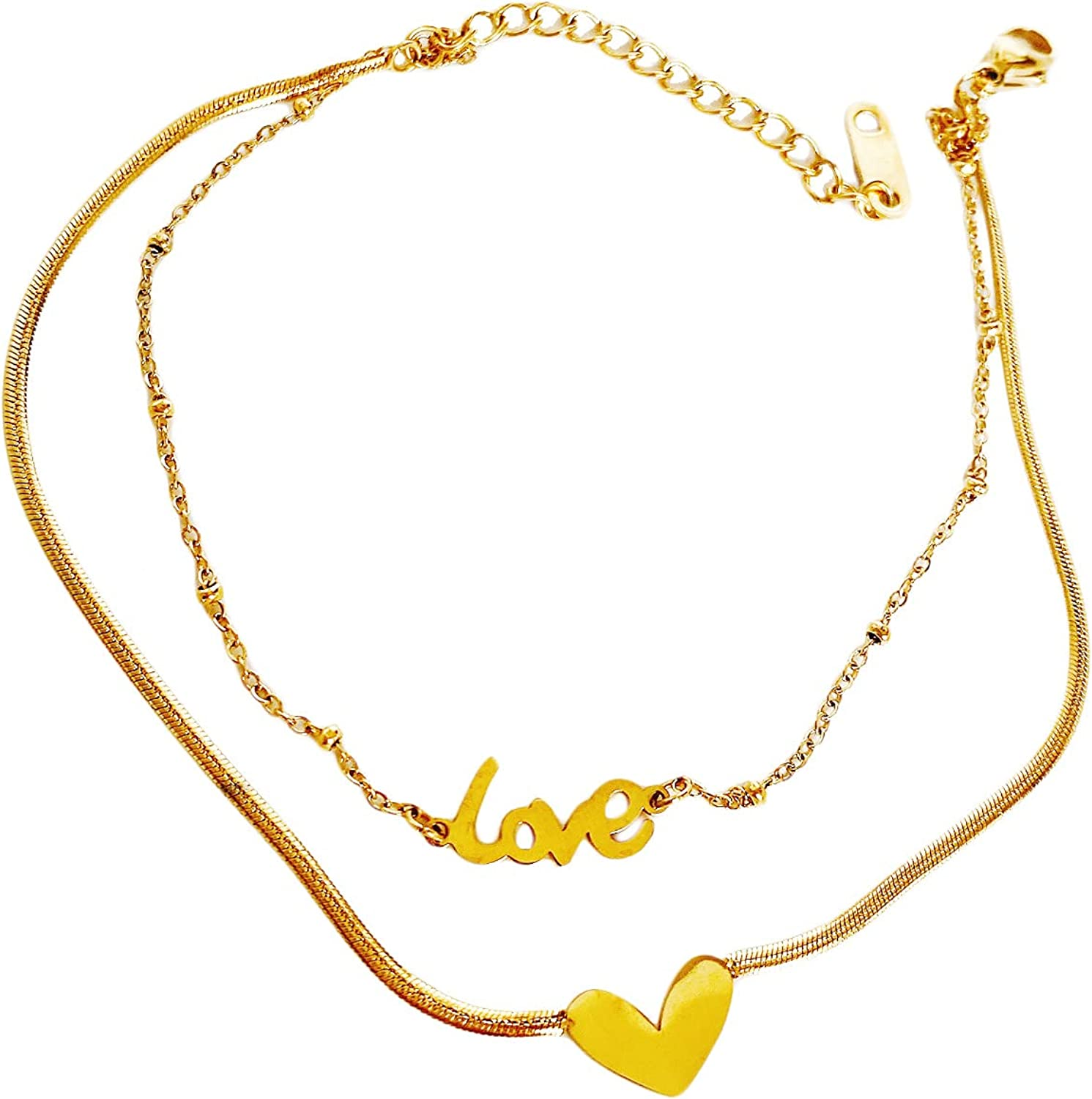 AININI Women's Layered Ankle Bracelet 14k Gold Plated Anklets with LOVE Heart Summer Beach Bracelets Ankle Jewelry Gifts for Teen Girls, Women,Her