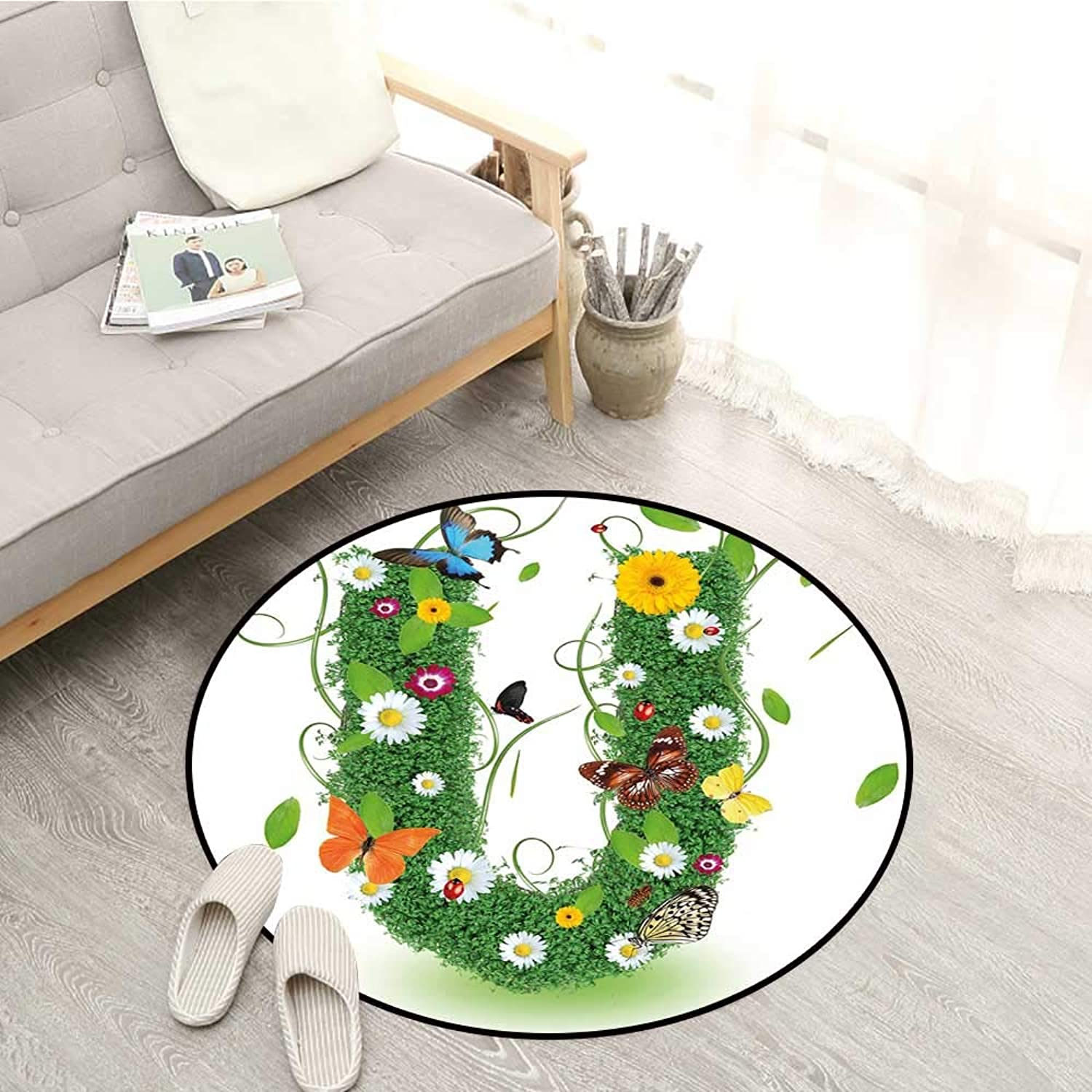 Letter U Kids Rugs Capitalized U with Forest color Scheme Plants Wildflower Butterflies Design Sofa Coffee Table Mat 4'3  Green Multicolor