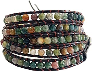 Chakra Handmade Leather Wrap Bracelet Imperial Jasper Wrap Adjustable Bead Bracelet