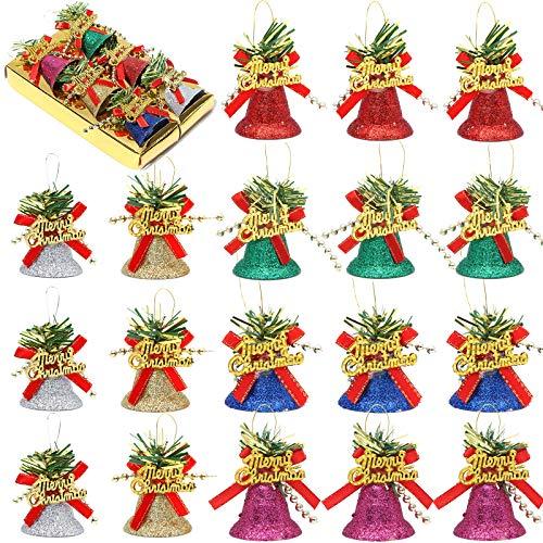 24 Stück Weihnachtsglocken, dekorative Glocken, Weihnachtsschmuck, Mini-Schleife, Basteln, Geschenk, Ornament, Weihnachtsbaum, Hängedekoration (mehrfarbig)