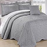 Home Soft Things Serenta Damask 4 Piece Bedspread Set, King,...