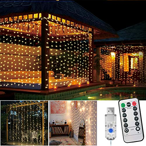LED Curtain Lights,USB Plug in Curtain Fairy Lights Waterproof,8 Modes,3M × 3M Window Icicle String Lights with Remote Control for Garden,Gazebo,Party,Christmas,Bedroom,Decoration,Wedding(Warm White)