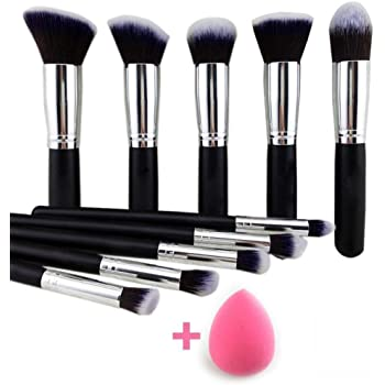 URBANMAC 10 Pieces Makeup Brushes Set Tool Pro Foundation Eyeliner Eyeshadow (Black) with Sponge Puff (Colour May Vary)