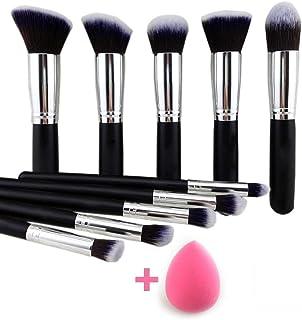URBANMAC 10 Pieces Makeup Brushes Set Tool Pro Foundation Eyeliner Eyeshadow (Black) with Sponge Puff (Colour May Vary)