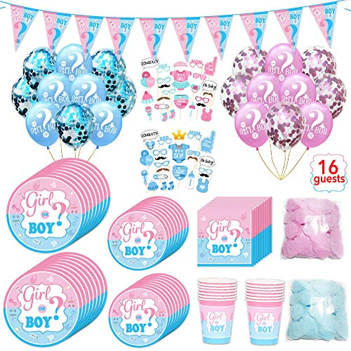 127 Pezzi Baby Shower Decoration Kit, includere Boy or Girl Banners,Palloncini Rosa Blu,Palloncini Foil, Foto Puntelli,Palloncini coriandoli,Reveal Balloon,Cake Topper,Mamma To Be Sash