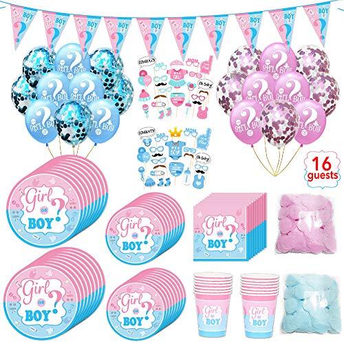 Tolyneil 127-teiliges Gender Reveal Party Dekoration,Rosa Blaue Konfetti Ballon Foto Requisiten,Girl oder Boy Banner,einschließlich Teller, Becher, Servietten, für 16 Personen