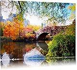 Brücke im Central Park Format: 120x80 auf Leinwand, XXL