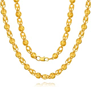 مجوهرات الرجال 24K سميكة مطلية بالذهب سلسلة مصنوعة يدويا من النحاس ، هدية عيد الأب ، عناصر عربية إثيوبية