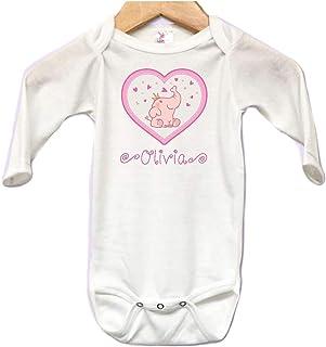 e0c6e02f Cute Elephant Hearts Baby Onesie Bodysuit Long Sleeve Cute Personalized  Custom Name 0 to 3 mos