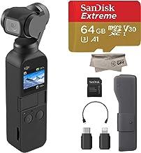 2019 DJI Osmo Pocket Handheld 3 Axis Gimbal with Integrated 4K Camera Bundle, Comes 64GB Extreme Micro SD