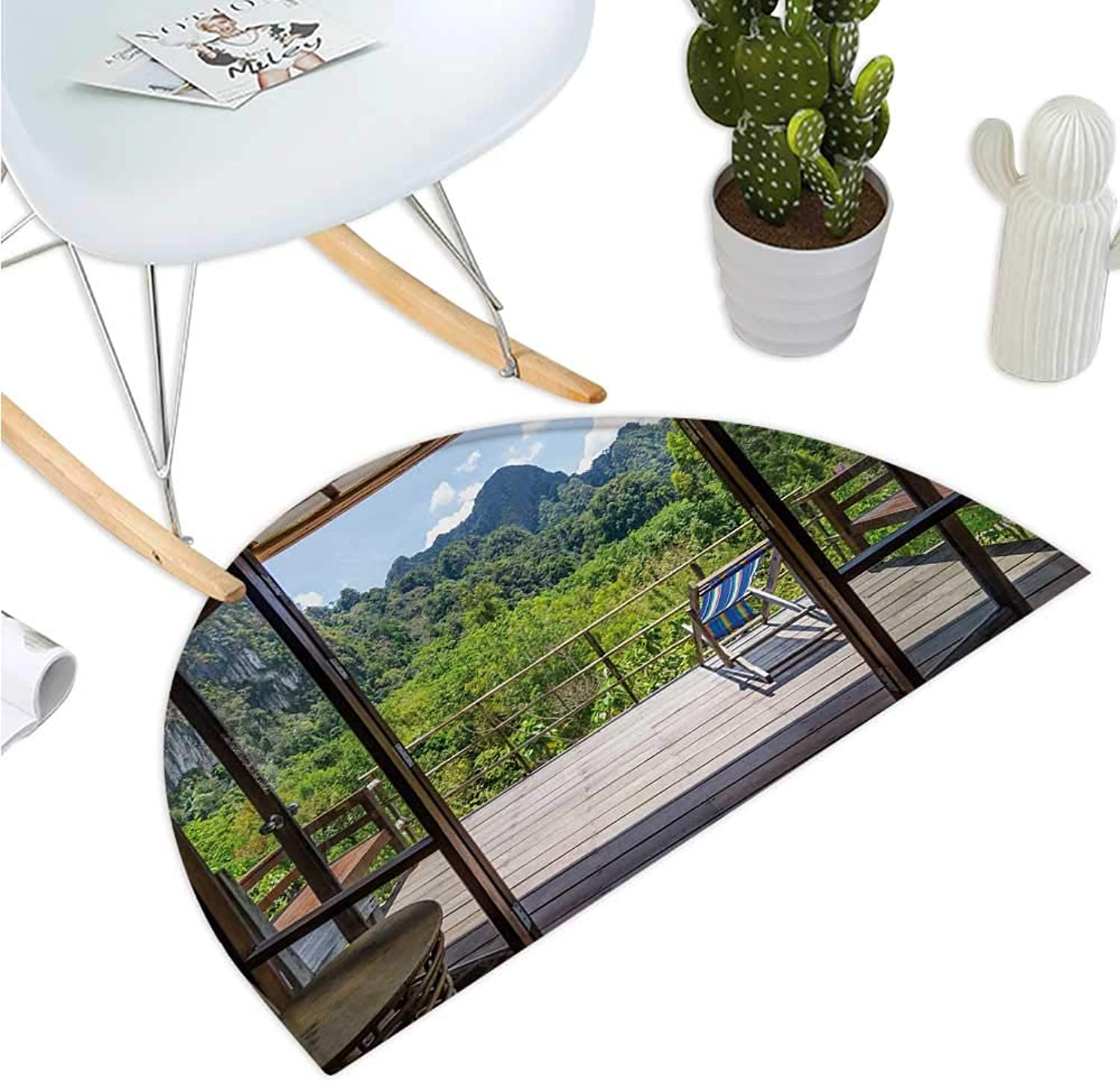 Modern Semicircular Cushion Summer Vibes Sunny Day in Forest Mountain Flowers Photograph Entry Door Mat H 35.4  xD 53.1  Pale Green Dark Green and White