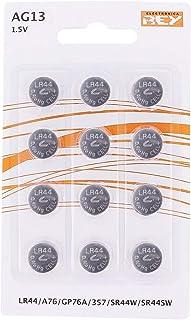 Pack de 12 Pilas AG13 1,5V Tipo Botón de Litio, LR44, A76,