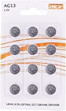 Pack de 12 Pilas AG13 1,5V Tipo Botón de Litio, LR44, A76, GP76A, 357, SR44W, SR44SW, Electrónica Rey®