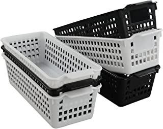 Idomy Slim Plastic Storage Trays Baskets, Set of 6, Black and White