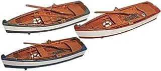Miniature Wooden Row Boat Replica 8-inch (Realistic Looking) (1-pc Random Color)